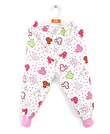 LOL Full Length Printed Fleece Track Pants - White Pink