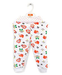 LOL Full Length Track Pants Animal Print - White Orange