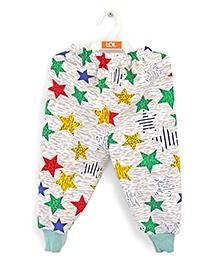 LOL Full Length Fleece Track Pants Star Print - White