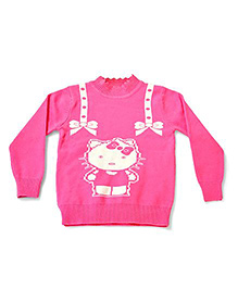 LOL Full Sleeves Kitty Design Sweater - Pink