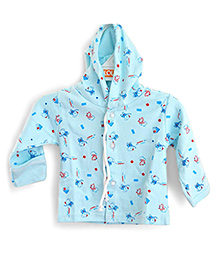LOL Full Sleeves Hooded Top Elephant Print - Sky Blue