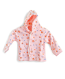LOL Full Sleeves Hooded Top Elephant Print - Peach