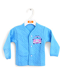 LOL Full Sleeves Quilted Vest Car Design - Blue
