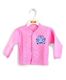 LOL Full Sleeves Quilted Vest Car Design - Pink