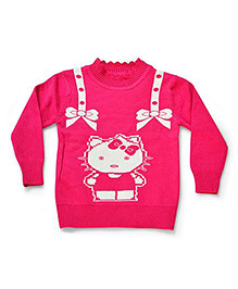 LOL Full Sleeves Kitty Design Sweater - Fuchsia