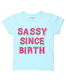 Brown Boy Mini Organic Cotton Sassy Since Birth Printed Tee - Mint