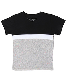 Brown Boy Mini Organic Cotton Half Panel Tee - Black & Grey
