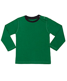 Brown Boy Mini Organic Cotton Full Sleeves Round Neck Tee - Green