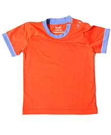 Brown Boy Mini Organic Cotton Pipped Plain Tee - Orange