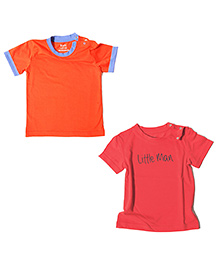 Brown Boy Mini Organic Cotton Boys Tee Combo - Red & Orange