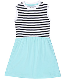 Brown Boy Mini Organic Cotton Stripe Print Dress - White & Mint