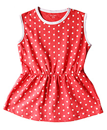 Brown Boy Mini Organic Cotton Polka Dot Dress - Peach