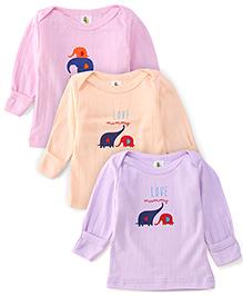 Cucumber Full Sleeves Top Elephant Print Pack Of 3 - Light Purple Peach Pink