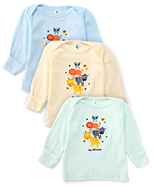 Cucumber Full Sleeves Top My Wild Friends Print Pack Of 3 - Light Green Light Blue Light Yellow