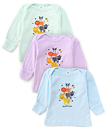 Cucumber Full Sleeves Top My Wild Friends Print Pack Of 3 - Light Green Light Blue Light Purple