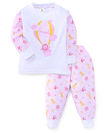 Cucumber Full Sleeves Top And Pajama Hot Air Balloon Print - Pink & White