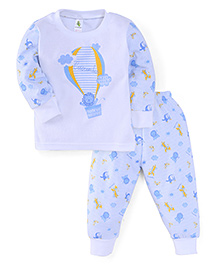 Cucumber Full Sleeves Top And Pajama Hot Air Balloon Print - Light Blue & White