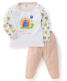 Cucumber Full Sleeves Top And Pajama Snail Print - White & Peach