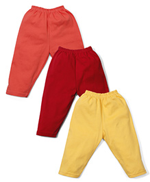 Cucumber Full Length Solid Color Leggings - Yellow Coral Red