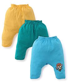 Cucumber Diaper Leggings Pack of 3 - Blue Green Yellow (Prints May Vary)