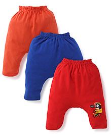 Cucumber Diaper Leggings Pack of 3 - Red Coral Royal Blue (Prints May Vary)