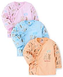 Cucumber Full Sleeves Vests Set of 3 Multi Print - Pink Peach Sky Blue