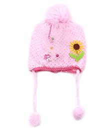 Babyhug Pom Pom Beanie Cap Sunflower & Pearl Design - Light Pink