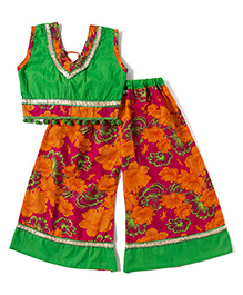 Kidcetra Palazzo With Tie Top - Orange & Green