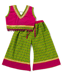 Kidcetra Palazzo With Tie Top - Green & Pink