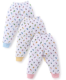 Cucumber Full Length Bottoms White Base Pack of 3 - Pink Sky Blue Yellow