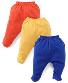 Cucumber Bootie Leggings Pack of 3 - Royal Blue Yellow Orange