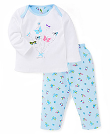 Cucumber Full Sleeves Top And Legging Butterflies Print - Blue & White