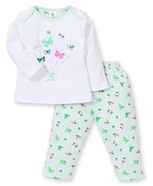 Cucumber Full Sleeves Top And Legging Butterflies Print - Green & White