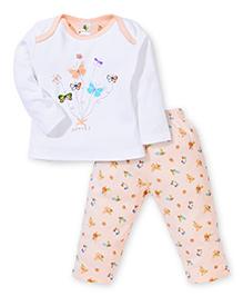 Cucumber Full Sleeves Top And Legging Butterflies Print - Peach & White