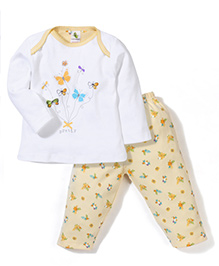 Cucumber Full Sleeves Top And Legging Butterflies Print - Yellow & White