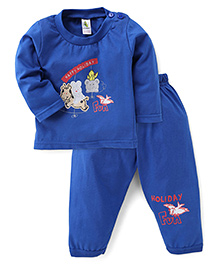 Cucumber Full Sleeves T-Shirt And Bottom Set With Holiday Fun Print - Royal Blue