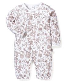 ToffyHouse Full Sleeves Teddy Bear Print Romper Style Sleep Suit - White