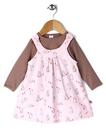 ToffyHouse Full Sleeves Rabbit Print Frock With Inner Tee - Pink & Brown