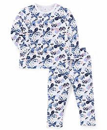 ToffyHouse Full Sleeves Butterfly  Print Shirt And Pajama - White & Dark Blue