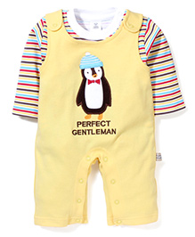 ToffyHouse Full Sleeves Romper Perfect Gentleman Print With Stripes Inner Tee - Yellow Multicolor