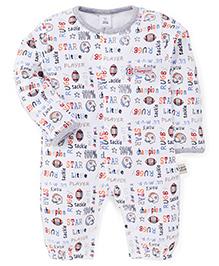 ToffyHouse Full Sleeves Multi Print Romper Style Sleep Suit - White