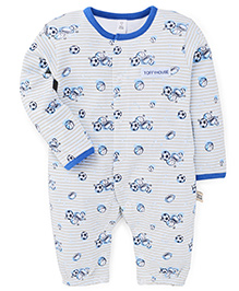 ToffyHouse Full Sleeves Multi Balls Print Romper Style Sleep Suit - Blue & Grey