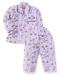 Yellow Duck Full Sleeves Night Suit Teddy Print - Purple