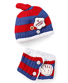 Flaunt Chic Star Winter Cap With Scarf - Blue & Red