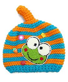 Flaunt Chic Frog Winter Cap - Sky Blue & Orange
