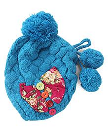 Flaunt Chic Bow & Buttons Winter Cap - Blue