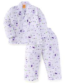 Yellow Duck Full Sleeves Night Suit Hippo Print - White Purple