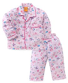 Yellow Duck Full Sleeves Night Suit Multi Print - Pink