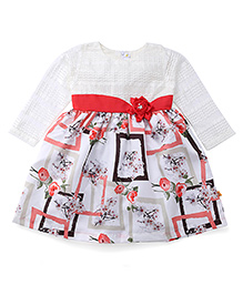 Yellow Duck Full Sleeves Printed Frock - White & Red