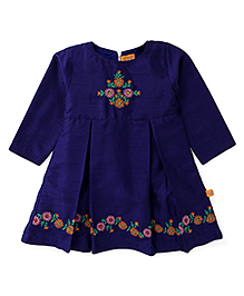 Yellow Duck Full Sleeves Floral Design Frock - Blue